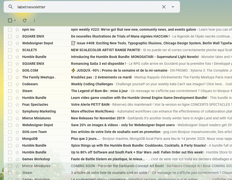 Gmail exemple dossier newsletter